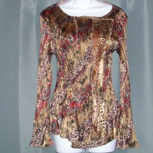 ALBERTO MAKALI NY PARIS STRETCH BLOUSE TOP SZ L